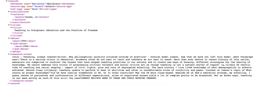 Lines of code from an .XML file, detailing a quote and some musings on bell hooks' comments on education